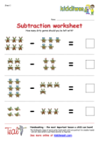Subtraction worksheet for children from Kiddiwash
