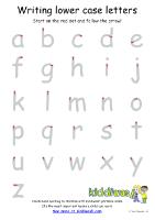 Free Kiddiwash worksheet writing lower case letters