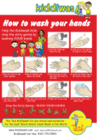 Teal KiddiWash how to wash your hands poster